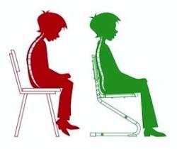 Правильно и неправильное положение на стуле